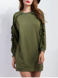 Ruffled Sleeve Short Sweatshirt  Dress