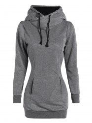 Slim Pockets Design Pullover Neck Hoodie - GRAY XL