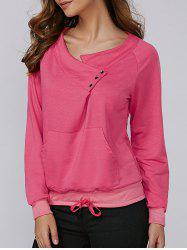 Buttoned Front Pockets Drawstring Sweatshirt