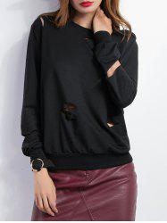 Loose Long Sleeve Cutout Sweatshirt -