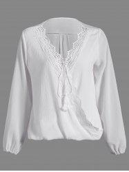 Patchwork Surplice Crochet-Trim Blouse