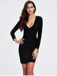 Twist Backless Long Sleeve Plunge Club Skinny Dress