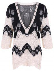 Lace Splicing Plunge Neck Blouse - BLACK