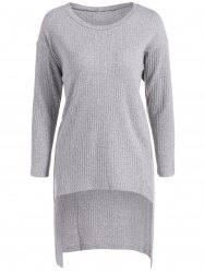 Long Sleeve High Low Sweater - GRAY