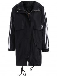 Stripe Pattern Applique Hooded Coat - BLACK
