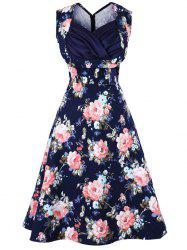 Floral Print Sweetheart Neckline Vintage Swing Dress