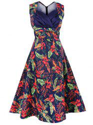 Vintage Sleeveless Print Dress - DEEP BLUE 4XL