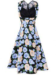 Vintage Sleeveless Print Swing Dress