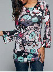 Open Back Long Sleeve Floral Print Dress