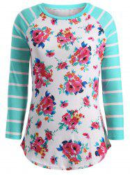 Flower Print Striped Patchwork T-Shirt