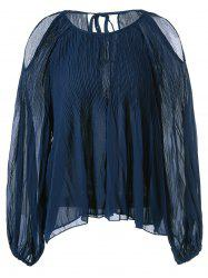 Open Shoulder Pleated Chiffon Blouse -