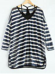 Loose Striped See-Through Slit T-Shirt and Camisole -