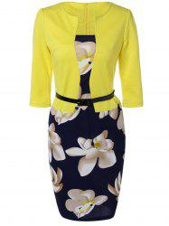Floral Sheath Knee Length Pencil Work Dress - YELLOW