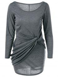 Scoop Neck Twist-Front Dress - GRAY XL