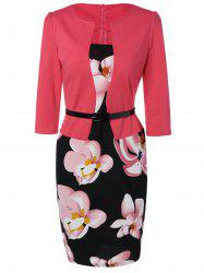 Belted Flower Print Blazer Patchwork Robe crayon - Rose Rouge