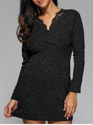 Ribbed Lace Insert Short Jumper Dress - DEEP GRAY