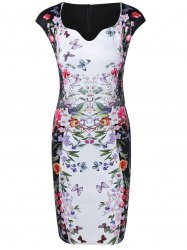 Flower Butterfly Print Bodycon Dress - WHITE
