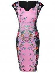 Flower Butterfly Print Bodycon Dress -