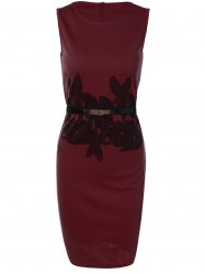 Belted Flower Print Pencil Formal Dress - DEEP RED M