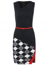 Argyle Skew Neck Sleeveless Pencil Dress