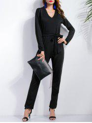Long Sleeve Bow Belt Jumpsuit
