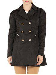 Slim Fit Double Breasted Dressy Trench Coat - BLACK