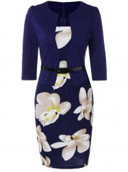 Floral Sheath Pencil Work Dress - PURPLISH BLUE