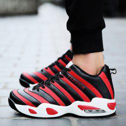 Faux Leather Striped Pattern Athletic Shoes - RED WITH BLACK