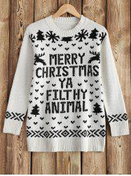 Round Neck Christmas Snow Sweater