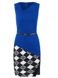 Argyle Skew Neck Sleeveless Bodycon Pencil Dress - BLUE S