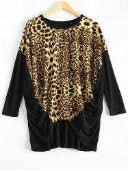 Leopard Asymmetric Ruched T-Shirt