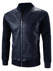 Stand Collar Argyle PU-Leather Splicing Design Zip-Up Jacket -