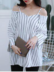 Striped Cold Shoulder Shirt -