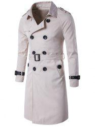 Epaulet PU-Leather Belt Embellished Double-Breasted Trench Coat
