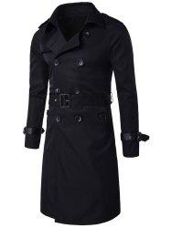 Epaulet PU-Leather Belt Embellished Double-Breasted Long Trench Coat -