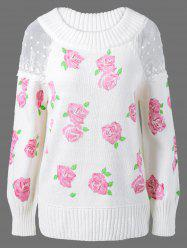 Lace Floral Print Pullover Sweater