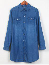 Shirt Neck Long Denim Shirt -
