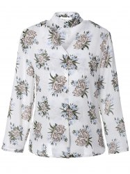 V Neck Long Sleeve Floral Print Shirt -