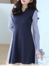 V Neck Long Sleeve Striped Spliced Dress - PURPLISH BLUE M
