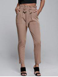 High Waisted Belted Slimming Narrow Feet Pants - KHAKI