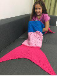 Super Soft Color Block Crochet Knitting Mermaid Tail Blanket For Kids