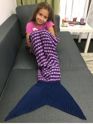 Super Soft Printing Design Crochet Knitting Mermaid Blanket For Kids