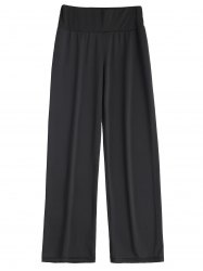 Long Stretch Elastic Waist Wide Leg Work Pants - BLACK