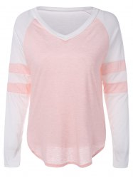Color Block Panel Raglan Sleeve T-Shirt -