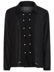 Autumn Faux Pearl Double-Breasted Shirt -