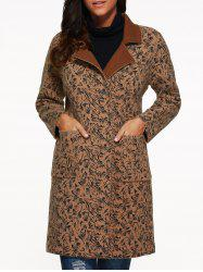 Lapel Collar Leopard Print Pocket Cashmere Coat -