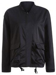 Autumn Drawstring Pockets Satin Bomber Jacket - BLACK