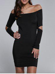 Cut Out Off The Shoulder Long Sleeve Bodycon Dress - BLACK