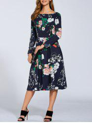 Autumn Floral Print Boat Neck Midi Dress