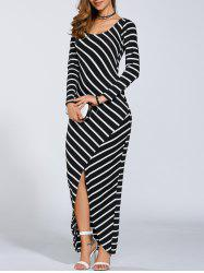 Striped Long Sleeve Slit Casual Maxi Dress - STRIPE